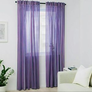 NWT IKEA PRAKTKLOCKA Purple Striped Curtains Set